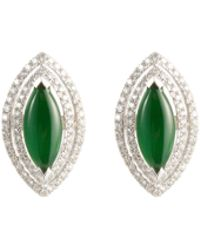 LC COLLECTION - Diamond Jade 18k White Gold Cutout Marquise Stud Earrings - Lyst