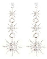 CZ by Kenneth Jay Lane - Cubic Zirconia Pavé Starburst Link Drop Earrings - Lyst