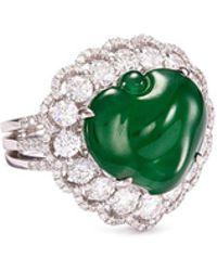 LC COLLECTION - Diamond Jade 18k Gold Peach Ring - Lyst