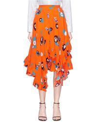 Helen Lee - Ruffle Geometric Floral Rabbit Print Skirt - Lyst