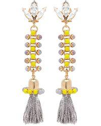 Anton Heunis - 'amy 3.11' Swarovski Crystal Agate Tassel Chain Earrings - Lyst