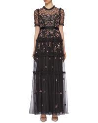 Needle & Thread - 'carnation Sequin' Ruffle Trim Tiered Tulle Gown - Lyst