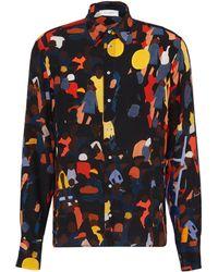 Wales Bonner - Crowd Print Unisex Silk Shirt - Lyst