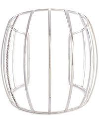 Dauphin - Diamond 18k White Gold Caged Cuff - Lyst