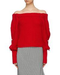 Hellessy - 'vessel' Faux Pearl Sleeve Off-shoulder Sweater - Lyst