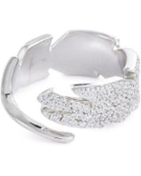 HEFANG - 'quill' Cubic Zirconia Silver Open Ring - Lyst