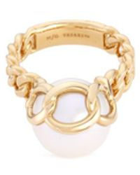 Tasaki | 'stretched' Freshwater Pearl 18k Yellow Gold Chain Effect Ring | Lyst