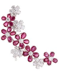 LC COLLECTION | Diamond Ruby 18k White Gold Floral Brooch | Lyst