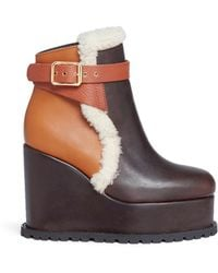 Sacai - Colourblock Leather And Shearling Wedge Platform Boots - Lyst