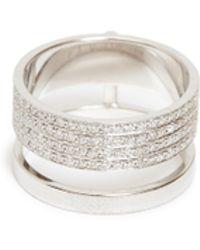 Repossi - 'berbère Module' Diamond 18k White Gold Two Row Ring - Lyst
