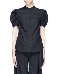 Xiao Li - 'robot' Slogan Print Back Puff Sleeve Poplin Shirt - Lyst