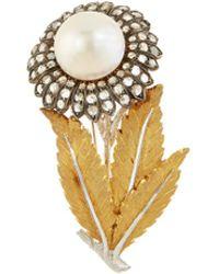 Buccellati - Diamond Pearl Silver 18k Gold Floral Brooch - Lyst