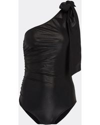 Lisa Marie Fernandez - 'arden' Tie One-shoulder Ruched One-piece Swimsuit - Lyst
