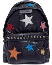 Stella McCartney - 'falabella Go' Glitter Star Patch Backpack - Lyst