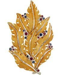 Buccellati - Sapphire Ruby 18k Gold Leaf Brooch - Lyst