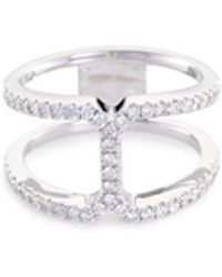 LC COLLECTION - 'art Deco' Diamond 18k White Gold Cutout Ring - Lyst