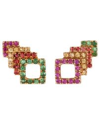 Khai Khai - 'square Stack' Sapphire Tsavorite 18k Yellow Gold Stud Earrings - Lyst