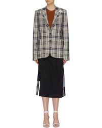 Monse - Sash Drape Stripe Outseam Tartan Plaid Blazer - Lyst