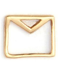 Loquet London - 'envelope' 14k Yellow Gold Single Stud Earring – Love Letters - Lyst