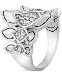 John Hardy - 'legends Naga' Diamond Small Silver Saddle Ring - Lyst