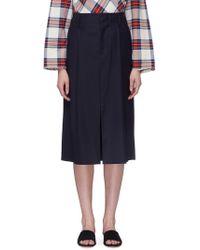 Ms Min - Pleated Split Hem Wool-silk Suiting Skirt - Lyst