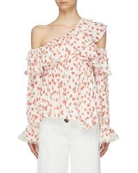 9deaaaff1d7df Lyst - Self-Portrait Pleated Bib Cold Shoulder Broderie Anglaise Top ...