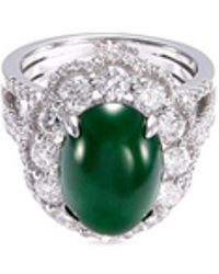 LC COLLECTION - Diamond Jade 18k Gold Scalloped Ring - Lyst