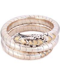 John Hardy - Sapphire 18k Yellow Gold Silver Naga Coil Bangle - Lyst