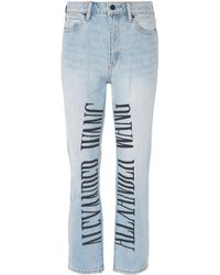 Alexander Wang - Logo Embroidered Cropped Jeans - Lyst