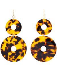 Kenneth Jay Lane - Tortoiseshell Double Circle Drop Earrings - Lyst