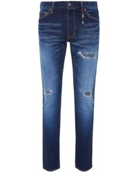 FDMTL - Stripe Outseam Ripped Skinny Jeans - Lyst