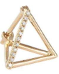 Shihara - 'triangle' Diamond 18k Yellow Gold Pyramid Single Earring – 10mm - Lyst