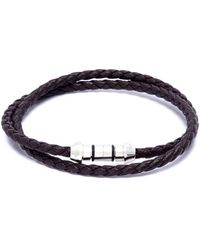 Tateossian - 'lucky Me' Double Wrap Thin Leather Bracelet - Lyst