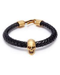 Alexander McQueen - Skull Charm Braided Leather Bracelet - Lyst