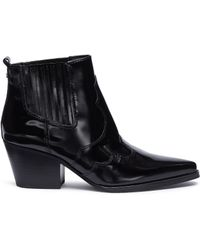 f672ca60c4b2f1 Tory Burch  bloomfield  Chain Strap Leather Ankle Boots in Black - Lyst