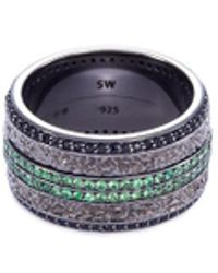 Stephen Webster - 'england Made Me' Tsavorite Sapphire Rhodium Silver Ring - Lyst
