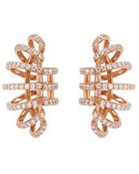 Dauphin - Diamond 18k Rose Gold Clip Earrings - Lyst