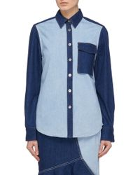 Comme Moi - Chest Pocket Colourblock Patchwork Denim Shirt - Lyst