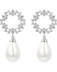HEFANG - 'court Lace' Cubic Zirconia Shell Pearl Drop Earrings - Lyst