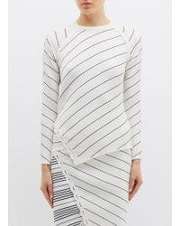 Jonathan Simkhai - Cutout Sleeve Asymmetric Stripe Scalloped Rib Knit Sweater - Lyst
