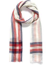 Janavi - 'stripe' Tartan Plaid Border Merino Wool Scarf - Lyst