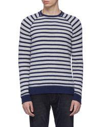 Denham - Raglan Sleeve Stripe Sweatshirt - Lyst