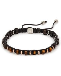 Tateossian - Tiger Eye Disc Bead Macramé Braided Bracelet - Lyst