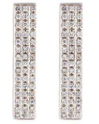 Dauphin - Diamond 18k White Gold Bar Clip Earrings - Lyst