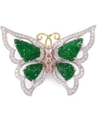 LC COLLECTION - Diamond Sapphire Jade 18k Gold Butterfly Brooch - Lyst