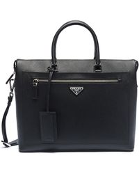 Prada - Logo Plate Saffiano Leather Messenger Bag - Lyst