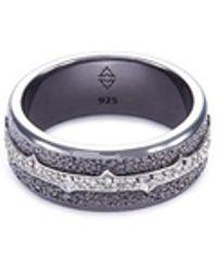 Stephen Webster - 'highwayman' Diamond Rhodium Silver Signet Ring - Lyst