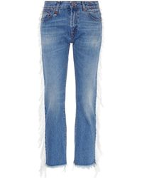 R13 - 'fringe Bowie' Shredded Outseam Jeans - Lyst