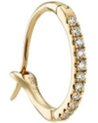 Loquet London - Diamond 14k Yellow Gold Talisman Hoop Earrings - Lyst