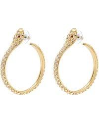 Kenneth Jay Lane - Glass Crystal Snake Hoop Earrings - Lyst